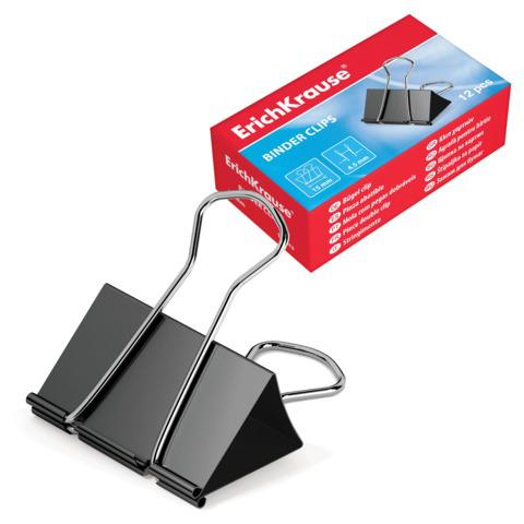 Зажимы для бумаг ERICH KRAUSE, КОМПЛЕКТ 12шт, 32 мм, на 145 л., черные, в картонной коробке, 2983  Код: 225057