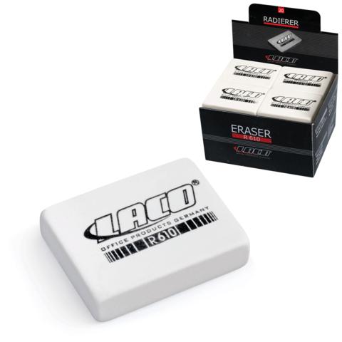 Резинка стирательная LACO (Германия), прямоугольная, 42x29x10мм, белая, картонный дисплей, R 610  Код: 225273