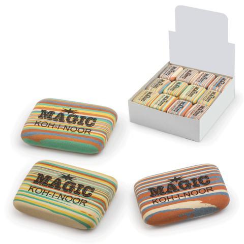 """Резинка стирательная KOH-I-NOOR """"Magic"""", прямоуг, 35x24x8мм, разноцветная,ассорти,диспл,6516040001KD  Код: 225391"""