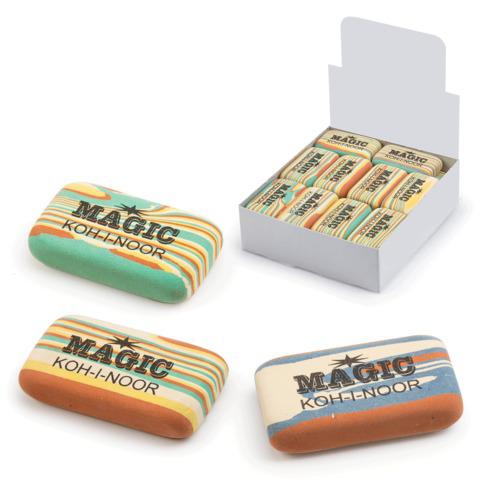 """Резинка стирательная KOH-I-NOOR """"Magic"""", прямоуг, 45x24x11мм,разноцветная,ассорти,диспл,6516030001KD  Код: 225392"""