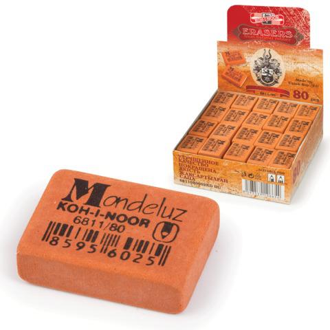 """Резинка стирательная KOH-I-NOOR """"Mondeluz"""", прямоуг, 26x18,5x8мм, оранжевая, картон.дисплей, 6811/80  Код: 225394"""