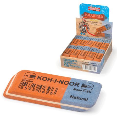 Резинка стирательная KOH-I-NOOR прямоуг., скош.углы, 57x19,5x8мм, крас/син., картон.дисплей, 6521/40  Код: 225398