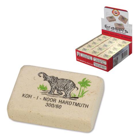 """Резинка стирательная KOH-I-NOOR """"Слон"""", прямоугольная, 31x21x8мм, цветная, картонный дисплей, 300/60  Код: 225400"""