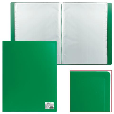 Папка  40 вклад. STAFF, зеленая, 0,5мм, 225703  Код: 225703