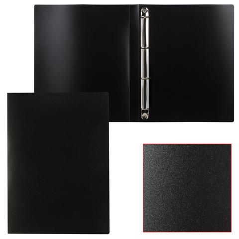 Папка 4 кольца STAFF, 25мм, черная, до 180 листов, 0,5мм, 225725  Код: 225725