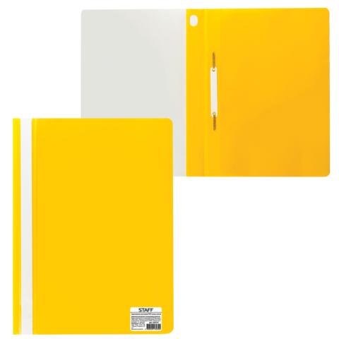 Скоросшиватель пластиковый STAFF, А4, 100/120 мкм, желтый, 225731  Код: 225731