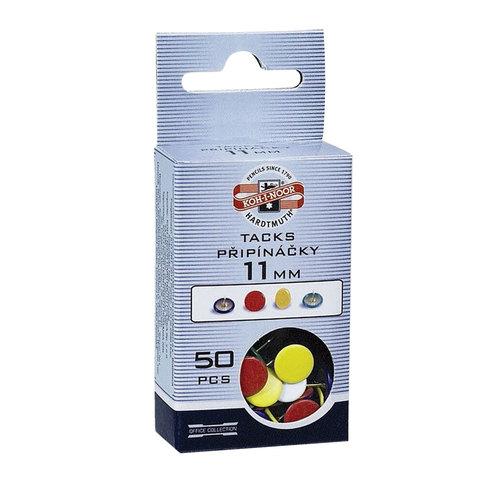 Кнопки канцелярские KOH-I-NOOR металл. цветные, 11мм, 50шт., в картон. коробке с подв, 9600100301KS  Код: 225840