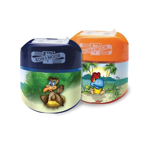 """Точилка KOH-I-NOOR """"Birds"""", 2 отверстия, пластиковая, с контейнером и крышкой, ассорти, 9095000079KS  Код: 225850"""