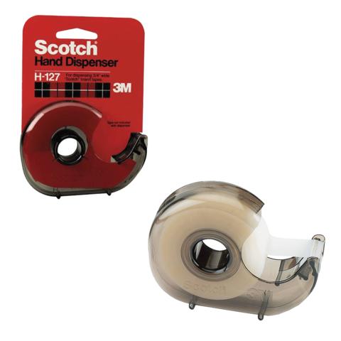 Диспенсер для клейкой ленты SCOTCH, для лент шириной до 19мм и длиной до 33м, дымчатый, H-127  Код: 225935