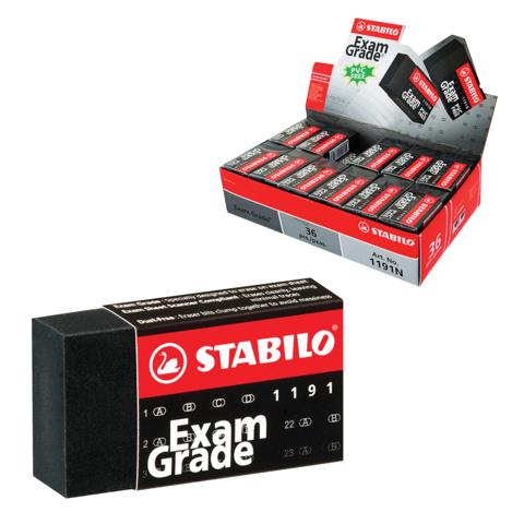 """Резинка стирательная STABILO """"Exam Grade"""", прямоугольная, 40х22х11 мм, черная, в карт. держ.,119136E  Код: 225957"""