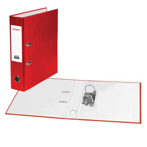 Папка-регистратор STAFF с покрытием из ПВХ, 70 мм, без уголка, красная, 225980  Код: 225980