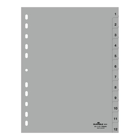 Разделитель пластиковый DURABLE (Германия) для папок А4, цифровой 1-12, серый, 6512-10  Код: 226244