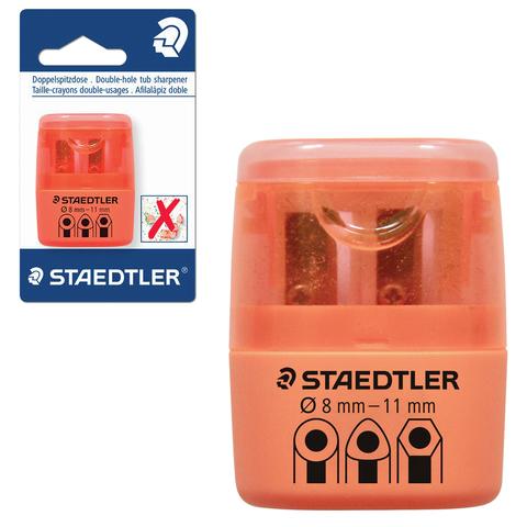 Точилка STAEDTLER (Германия), 2 отверстия, с контейнером, пластиковая, оранжевая, 51260F4-BK  Код: 226443