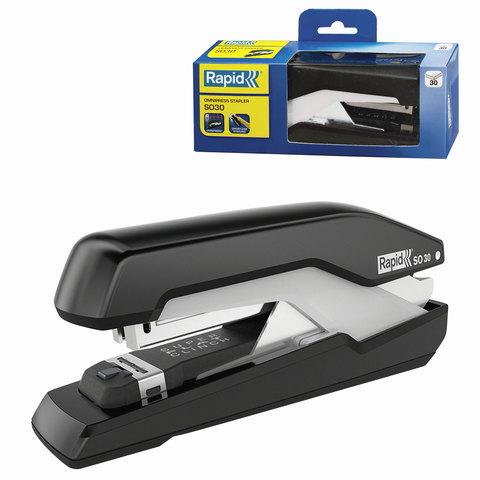 Степлер RAPID Supreme Omnipress Fullstrip SO30(Швеция),№24/6-26/6, до 30 листов,черный/серый,5000546  Код: 226459