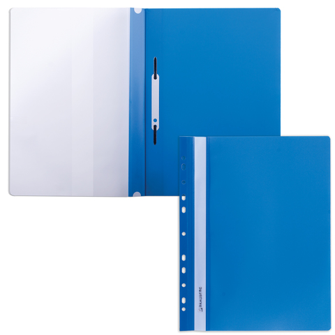 Скоросшиватель пластиковый с перфорацией BRAUBERG, А4, 140/180 мкм, синий, 226583  Код: 226583