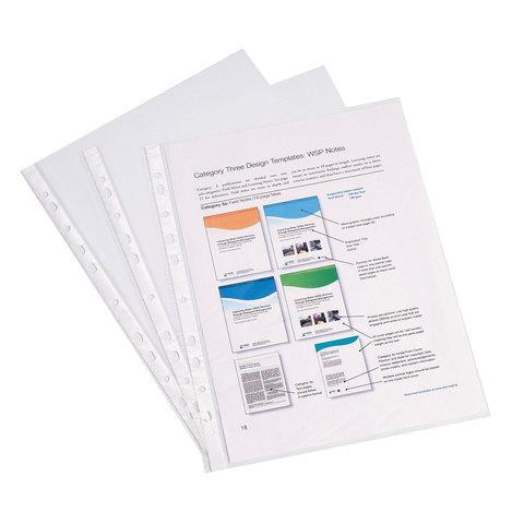 Папки-файлы перфорированные (мультифора) A4 ERICH KRAUSE, КОМПЛЕКТ 100 шт., гладкие, эконом, 30 мкм, 30630  Код: 226606