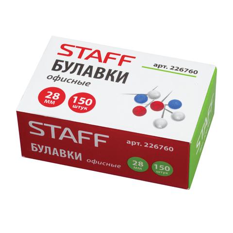 Булавки офисные STAFF, 28 мм, 150 шт., в картонной коробке, 226760  Код: 226760