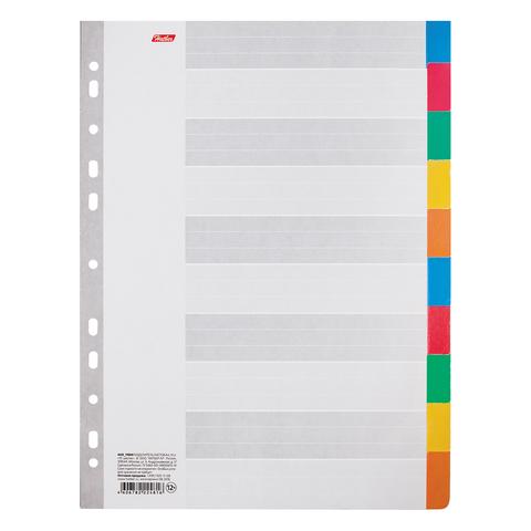 Разделитель картонный А4, 10 листов, цветовой/10 цветов, 225*297мм, HATBER, 4AR_11004(М224816)  Код: 226781