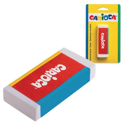 Резинка стирательная CARIOCA (Италия), прямоугольная, 63*23*10мм, белая, картонный держатель, 40141  Код: 226804
