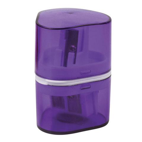 Точилка BRAUBERG (Брауберг) CASE с контейнером, пластиковая, треугол., двухстор., 3 отверстия, ассорти, 226943  Код: 226943