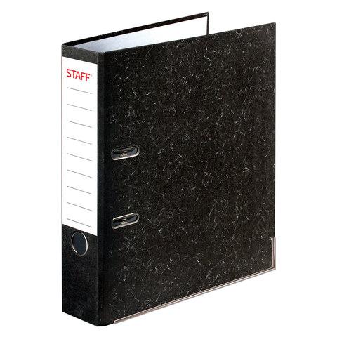Папка-регистратор STAFF с мраморным покрытием, 50 мм, с уголком, черный корешок, 227186  Код: 227186