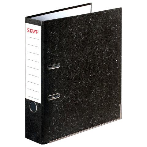 Папка-регистратор STAFF с мраморным покрытием, 70 мм, с уголком, черный корешок, 227187  Код: 227187