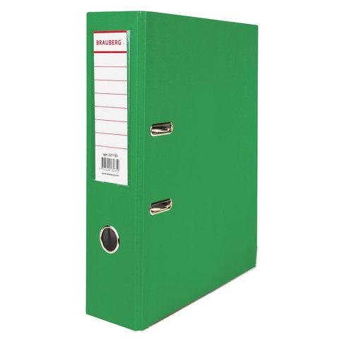 Папка-регистратор BRAUBERG (Брауберг) с покрытием из ПВХ, 80 мм, с уголком, зеленая (удв. срок службы), 227193  Код: 227193