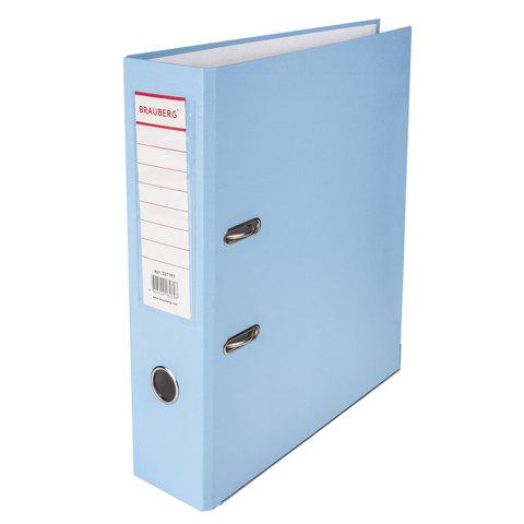 Папка-регистратор BRAUBERG (Брауберг) с покрытием из ПВХ, 80 мм, с уголком, голубая (удв. срок службы), 227197  Код: 227197