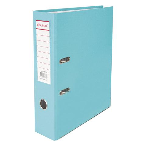 Папка-регистратор BRAUBERG (Брауберг) с покрытием из ПВХ, 80 мм, с уголком, бирюзов. (удв. срок службы), 227198  Код: 227198