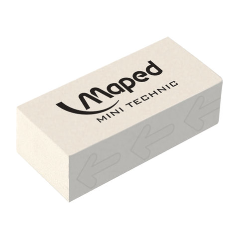 "Резинка стирательная MAPED (Франция) ""Technic Mini"", 39х18,2х12,6мм, белая, дисплей, 011300  Код: 227329"