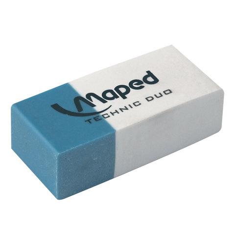 "Резинка стирательная MAPED (Франция) ""Technic Duo"", 39х17,6х12,1мм, сине-белая, дисплей, 511710  Код: 227330"