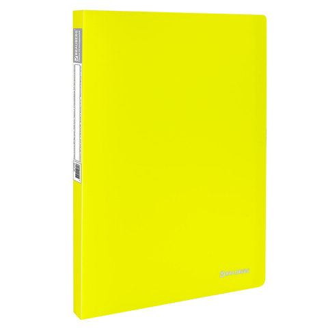 "Папка 20 вкладышей BRAUBERG (Брауберг) ""Neon"", 16мм, неоновая желтая, 700мкм, 227449  Код: 227449"