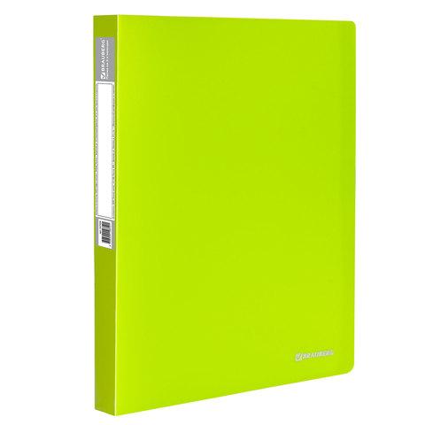 "Папка на 2 кольцах c внутр. карманом BRAUBERG (Брауберг) ""Neon"", 25мм, неон. зеленая, до 170л, 0,7мм, 227456  Код: 227456"