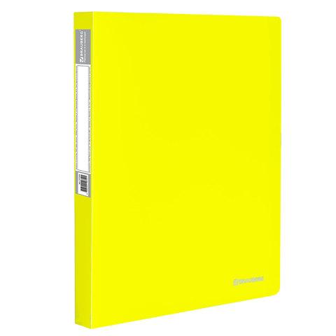 "Папка на 2 кольцах c внутр. карманом BRAUBERG (Брауберг) ""Neon"", 25мм, неон. желтая, до 170л, 0,7мм, 227457  Код: 227457"