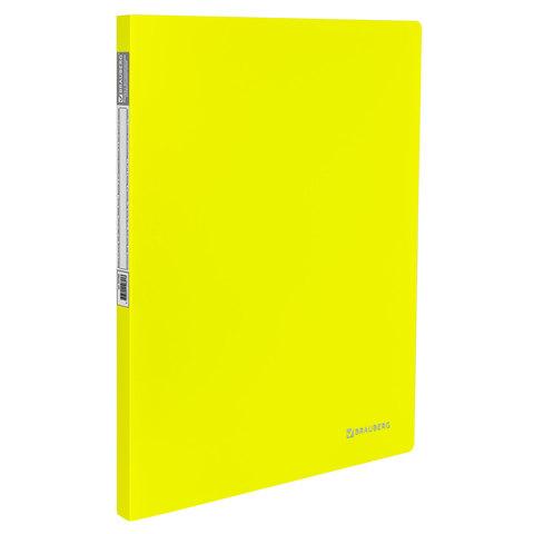 "Папка с метал. скоросшивателем и внутренним карманоманом BRAUBERG (Брауберг) ""Neon"", 16мм, желтая,до 100л,0,7 мм,227465  Код: 227465"