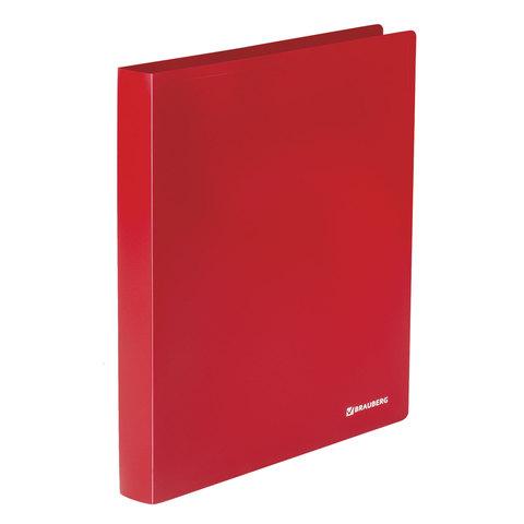 Папка на 2 кольцах BRAUBERG (Брауберг) Office, 32мм, красная, до 250 листов, 0,5мм, 227500  Код: 227500