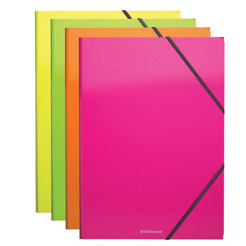 "Папка на резинках ERICH KRAUSE ""Glance Neon"" А4, до 300 листов, 400 мкм, ассорти, 43052, 47197  Код: 227751"