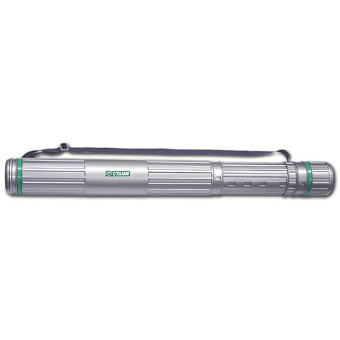 Тубус для чертежей СТАММ телескопический, диам.8,5см, 63-110см, А0, серый на ремне, ПТ12  Код: 231147