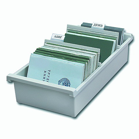 Картотека пласт. HAN (Германия) А6 открытая горизонтал. на 1300 карточек 148*105мм, серая НА956/0/11  Код: 231168