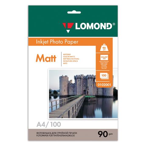 Фотобумага LOMOND для струйной печати A4, 90 г/м2, 100л, односторонняя матовая, 0102001  Код: 360332