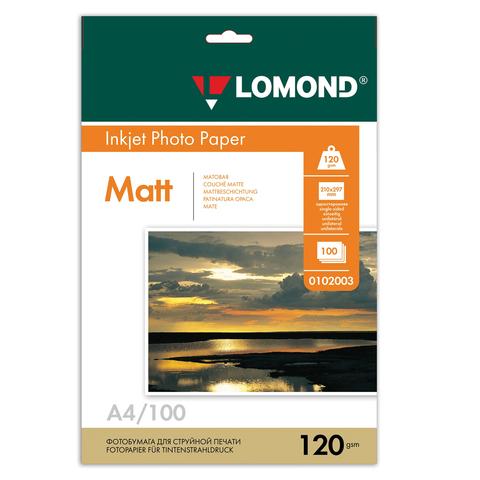 Фотобумага LOMOND для струйной печати А4, 120 г/м2, 100л, односторонняя матовая, 0102003  Код: 360333