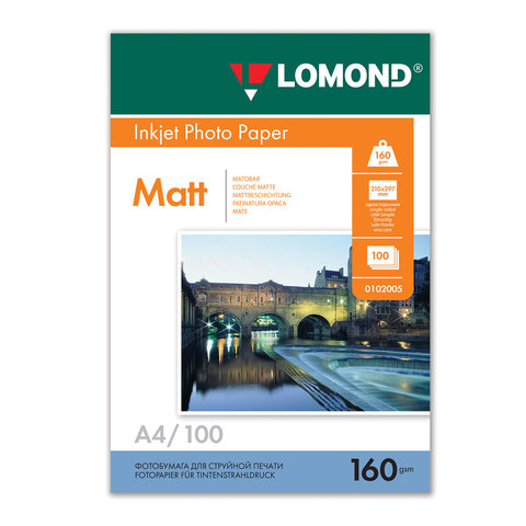 Фотобумага LOMOND для струйной печати А4, 160 г/м2, 100л, односторонняя матовая, 0102005  Код: 360334