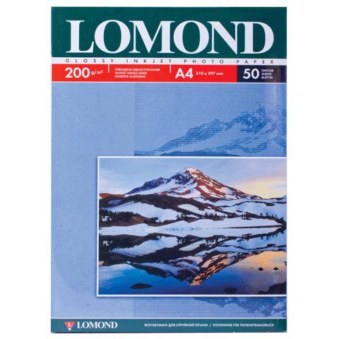 Фотобумага LOMOND для струйной печати А4, 200 г/м2, 50л, односторонняя глянцевая, 0102020  Код: 360338