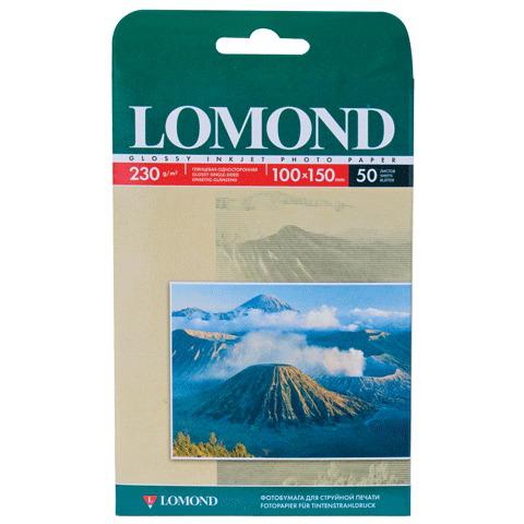 Фотобумага LOMOND для струйной печати 10*15см, 230г/м, 50л., односторонняя, глянцевая (0102035)  Код: 360390