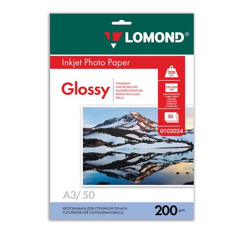 Фотобумага LOMOND для струйной печати A3, 200 г/м2, 50л, односторонняя глянцевая, 0102024  Код: 360924
