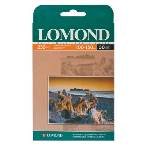 Фотобумага LOMOND для струйной печати 10х15см, 230г/м, 50л., односторонняя, матовая (0102034)  Код: 360925