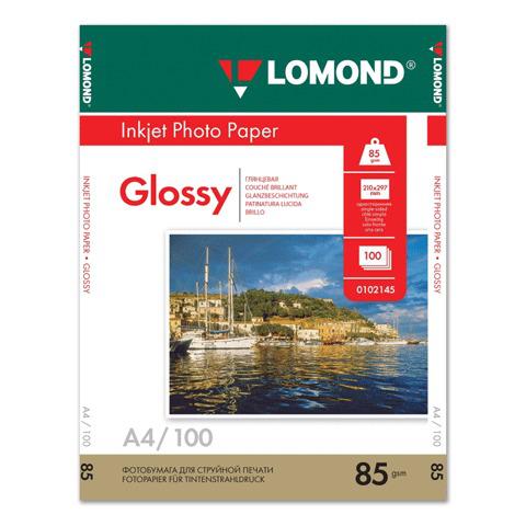Фотобумага LOMOND для струйной печати А4, 85г/м, 100л., односторонняя, глянцевая (0102145)  Код: 360942