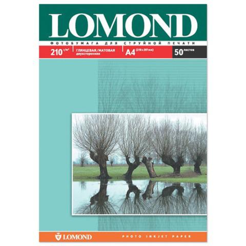 Фотобумага LOMOND для струйной печати А4, 210 г/м2, 50л, двухсторонняя глянцевая/матовая, 0102021  Код: 361512