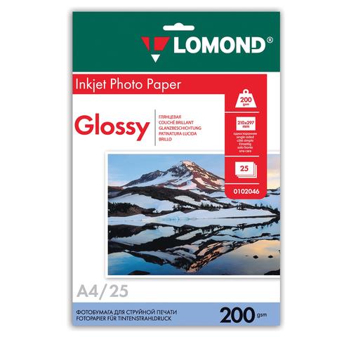Фотобумага LOMOND для струйной печати, А4, 200 г/м2, 25л., односторонняя, глянцевая 0102046  Код: 361576