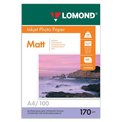 Фотобумага LOMOND для струйной печати А4, 170 г/м2, 100л, двухсторонняя матовая, 0102006  Код: 361577